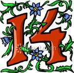 Number_14_With_Blue_Flowers_Royalty_Free_Clipart_Picture_081027-123454-763048