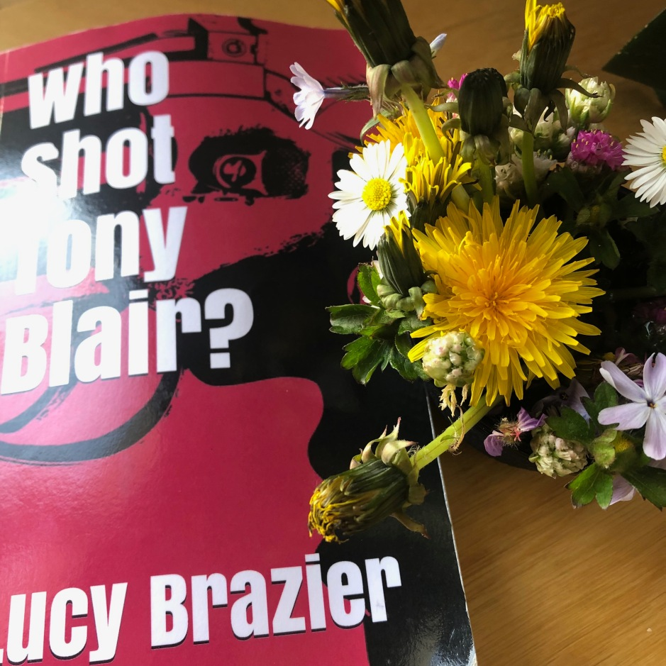 "book ""who shot tony blains?"" by Lucy Brazier next to some flowers"