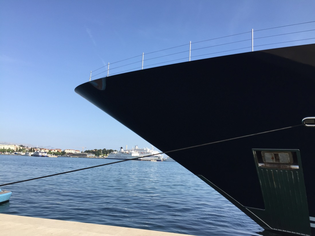 hull of yacht against blue sky and sea in split croatia