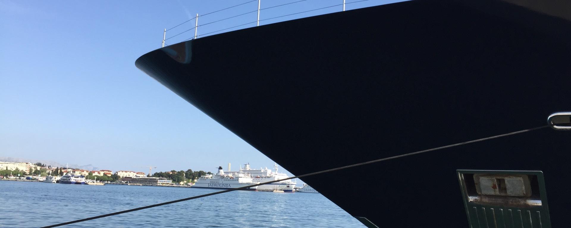 hull of yacht against blue sky and sea in split croatia
